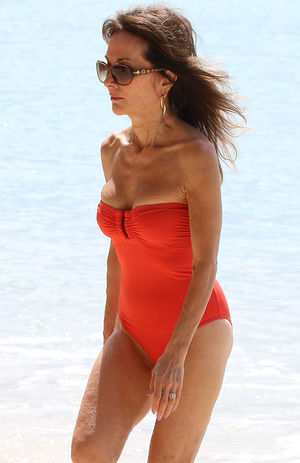 Susan Lucci -- Red-Hot Swimsuit in Barbados