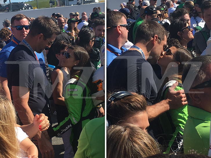 Aaron Rodgers Gives Danica Patrick a Good Luck Kiss Before Final NASCAR Race