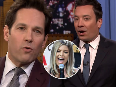 Jimmy Fallon RIPS Fergie's National Anthem In Five-Minute 'Tonight Show' With Paul Rudd