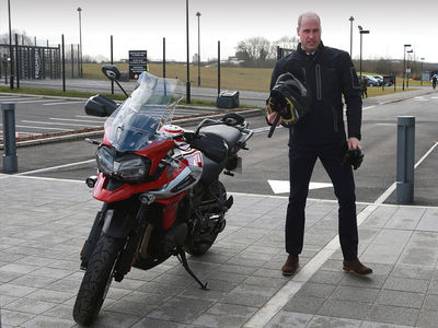 Prince William Gets Suited Up to Ride Motorcycle in England