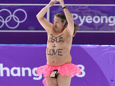 Olympics Invaded By Fat Streaker with Monkey Penis Pouch