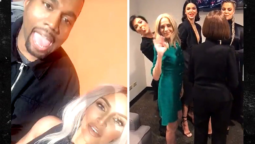 Image result for Kim Kardashian and Kanye West Up Against Kendall, Khloe and Kris for 'Family Feud' Taping