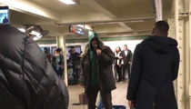 Adam Sandler Performs Raunchy New Songs in NYC Subway