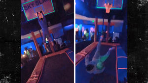 Kevin Hart Mostly Fails at Trampoline Slam Dunks