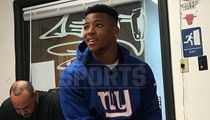 Saquon Barkley Rocks NY Giants Gear to Barber Shop